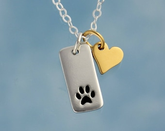 Pet Love Necklace -Tiny dog or cat paw print and gold plated bronze heart charms- sterling silver- sweet memory charm - free shipping USA