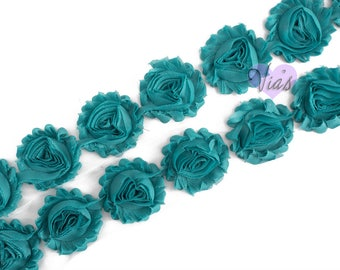 "Viridian  : 14 Flowers  | 2.5"" Chiffon Craft Roses for Headband DIY Kits 