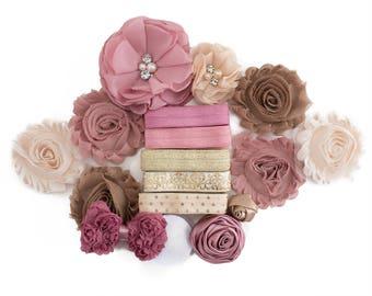 Delilah : DIY Headband Kit   10 Headbands   Dusty Blush Pink Gold  Craft Flowers FOE Fold Over Elastic   Princess Parties + Baby Showers