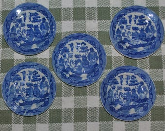 5 Vintage Toy Blue Willow Plates Japan