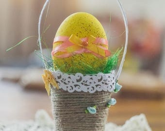 Decorated yellow Easter Egg, egg in basket, Beautiful egg Gift, gift for collectors, egg decorations, home decor, Easter egg,