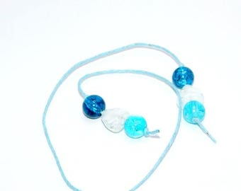 SAVE 30% Beaded Bookmark  - Blue - Book Thong - Glass Beads - Gift -