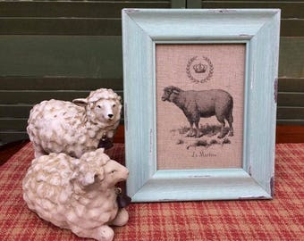 Sheep with French Crown, French Country Decor, Farmhouse Decor, Linen Print, Distressed Shabby Chic Frame, French Script Printed on Linen