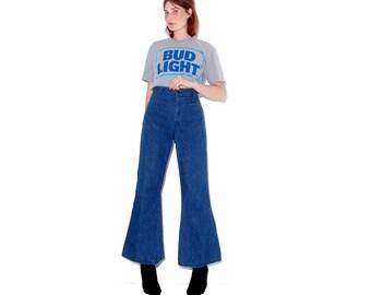 original 1970s US NAVY BELLBOTTOMS / womens xl xxl / high waisted jeans 70s jeans sailor bell bottoms giant flare elephant bells