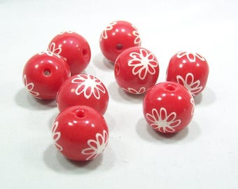 Handmade Polymer Clay Beads - Red with White Outlined Flowers