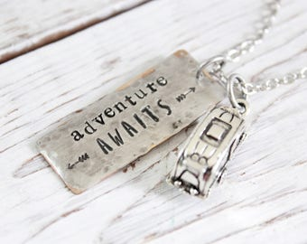 Adventure Awaits camper necklace.  Soldered mixed metal hand stamped pendant.  Arrows.  Travel, graduation, birthday gift.