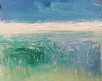 "Special Size and Special Price  / ""Between""   Expressive abstract ocean space  painting green blue  10 x 10 in, Russ Potak"