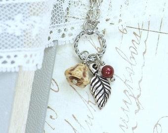 Nature Leaf Necklace Autumn Necklace Fall Leaf Necklace Woodland Necklace Fall Charm Necklace