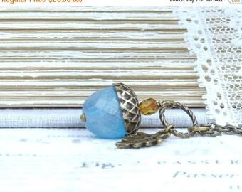 Blue Acorn Necklace Autumn Necklace Glass Acorn Necklace Acorn Pendant Necklace Acorn Gift