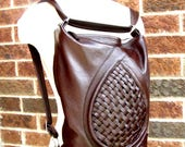 Brown leather backpack purse, mid sized slouchy leather bag, transformable bag, messenger, leather MacBook bag - MADE TO ORDER