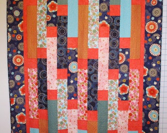 Coral and Navy Quilt with Minky Backing
