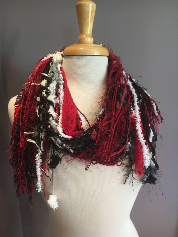 Handmade Fringie, Wisconsin Badgers, UW Madison, All Fringe Scarf, Multitextural fringe scarf, red white black, Cardinals, boho chic