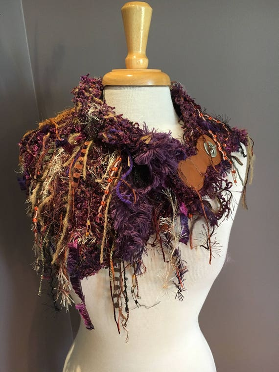 Handknit Shag Artistic Neckwarmer with leather clasp art yarn fringe, Knit Collar, Purple Jewel Knit Fringed Poncho, Knit Cowl