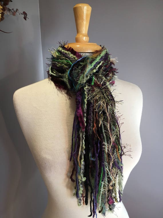 Handmade Fringe Scarf, Medium Fringie in Grape Wrath, Multitextural knotted fringe art yarn scarf in purple green brown black, boho chic