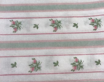 One yard of vintage sheet fabric. Green and pink floral and stripe