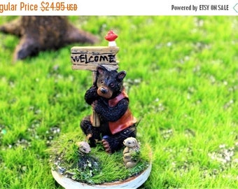 Save25% Welcome bear on birch round-Spotted Red mushroom-Ground hogs-Faux grass turf