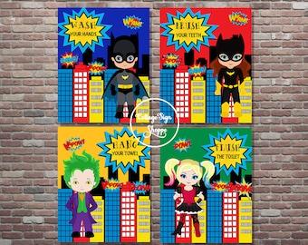 Batman Bathroom, Children's Bathroom Rules, DIGITAL, YOU PRINT, Batgirl Bathroom Rules,Kids Bathroom Rules,Jack and Jill Bathroom