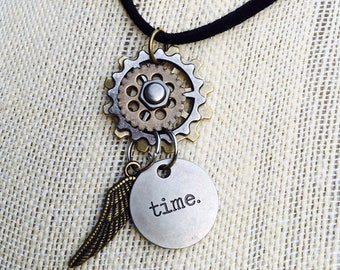 Charm necklace, steampunk necklace, steampunk style jewelry