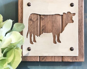 Cow Plaque, metal and wood, farmhouse decor