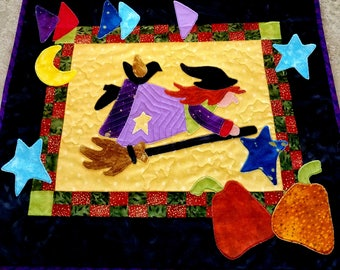 Halloween Witch Quilt Wall Hanging Whimsy Witch Fiber Art Applique Batik Black Gold Orange