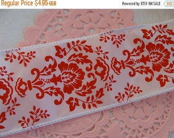 ONSALE Gorgeous Wired Cherry Red Ribbon for Bows or Wreaths  2 Yards