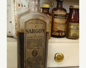 ONSALE Antique 1920s Apothecary Sargon Tonic Extra Large Old Bottle