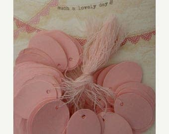 ONSALE Pink String Tags One Dozen Gorgeous Pink Color Easter Egg Shaped
