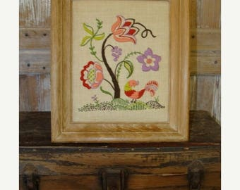 ONSALE Embroidered Vintage Flowers Embroidery Framed Art