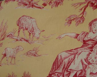 Gorgeous Vintage  Woven Toile Fabric Sample
