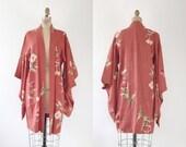 vintage kimono / vintage kimono robe / Peony Silk Kimono