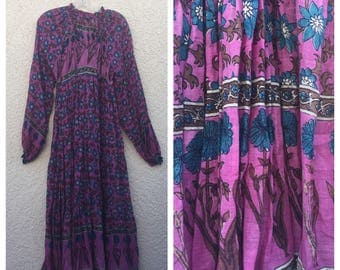 Reserved... please do not buy.  VINTAGE 70s Indian cotton gauze maxi dress