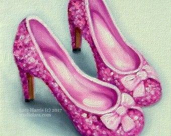 Pretty in Pink Sparkly Heels....Original Painting in OIL by LARA 8x8Fashion Illustration Still Life Shoes