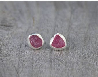 Summer Sale Raw Spinel Earring Studs, Spinel Wedding Gift, August Birthstone, Handmade In England