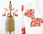40s Novelty Print Bolero Small  / 1940s Vintage Jacket Cotton / Calico Bows Cropped Jacket