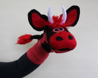 SALE Red Bull Sockett Couture Sock Puppet size Xlarge