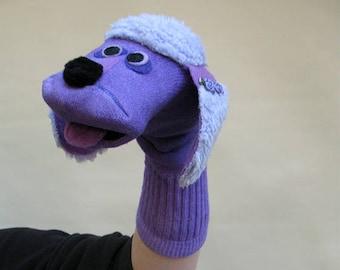 SALE Handmade Purple Poodle Sock Puppet Summer Clearance.