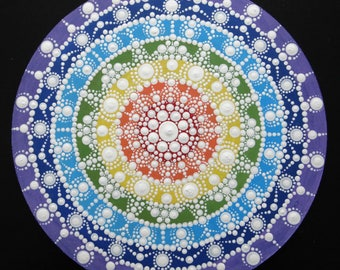 This round wall Mandala chakras dot painting
