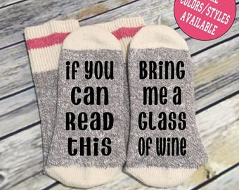 Word Socks - Novelty Comfy Cotton Ladies Socks - If you can read this - Bring me a glass of wine - Funny Socks - Socks with Sayings - Custom