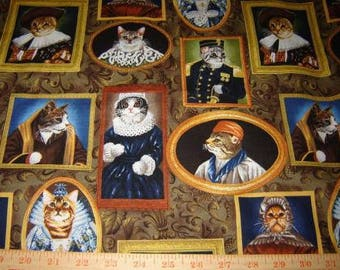 Fabric Alexander Henry Elizakitten Renaissance Cats Framed portraits Elizabethan era now reprinted