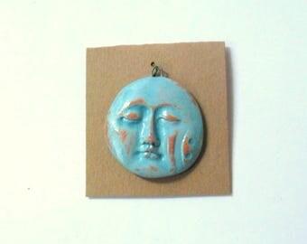 Turquoise Glazed Terra Cotta Kiln Fired Face Pendant Finding