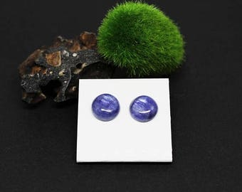 Christmas In July Sale - Kyanite Gemstone . 12mm Round Domes . Sterling Silver Posts Studs Earrings . Chatoyant Periwinkle Blue . E16026