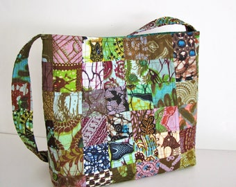 Batik Bag, Boho Bag, Handmade, Shoulder Purse, Gift Idea, Hollandais Veritable, Wax Dyed Cotton, Quilted, Patchwork,  OOAK, Large, Autumn