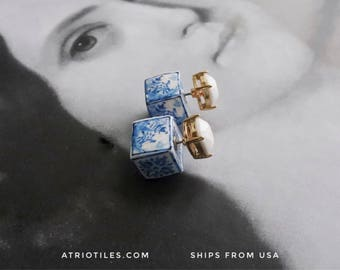 Portugal Antique Azulejo FRONT BACK Double Tile  Replica Earrings from Porto Blue  - Gift Boxed Delft Willow Ming Pagoda Chinese chinoiserie