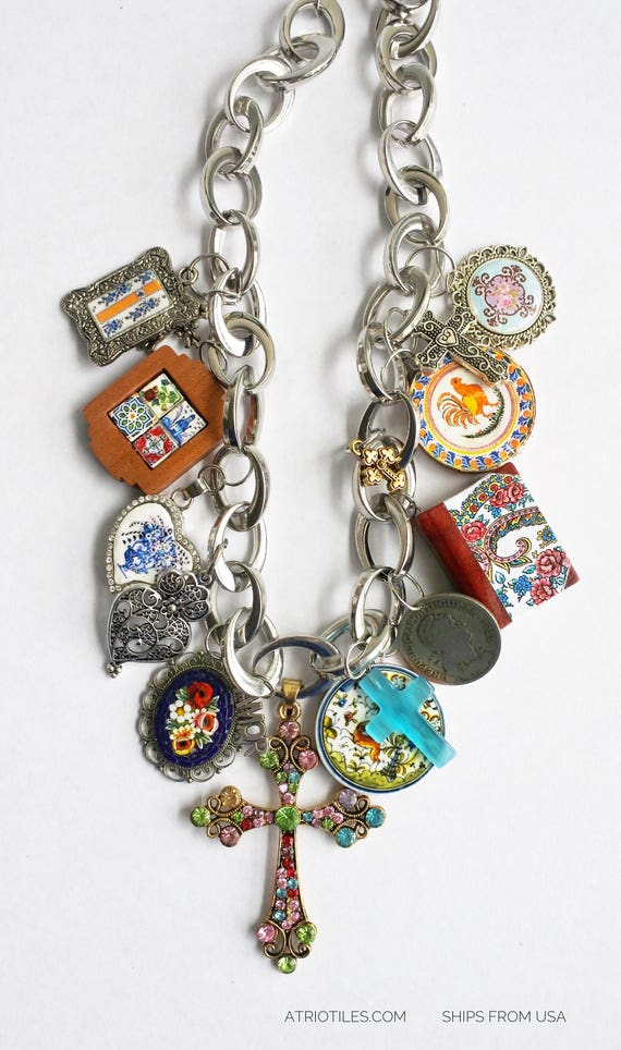 Necklace Portugal Azulejo Tile Necklace  Bib STATEMENT OOAK  Micro Mosaic Majolica Locket Mini Book Crosses Viana 1928 Coin  Ships from USA