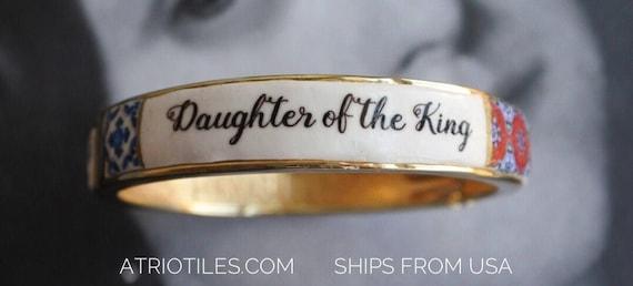 Bracelet Christian Daughter of the King - Jesus - Portugal Blue Antique Azulejo Tile Replica Bangle Bracelet - Ships from USA