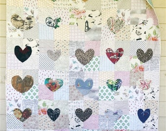Memory Hand Cut Heart Quilt, You choose Size, Memory quilt, mourning quilt, comfort quilt, repurposed