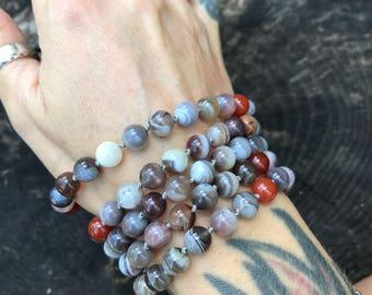 Bostwana Agate 108 Bead Mala Necklace