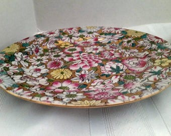 Pink, Gold and Green Decorative Plate