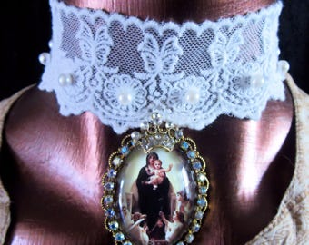 "Catholic Virgin Mary ""Queen of Angels"" Religious Handmade Pendant Lace Choker Necklace, Collar Gargantilla Catolico Virgen Maria"