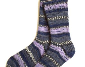 Handknit Socks for Women and Girls, Ladies Socks, Knit Socks, striped socks, multicolor socks, blue gray periwinkle socks, gift for women